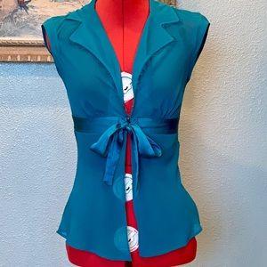 Arden B teal silk cap sleeve sheer blouse in sz S